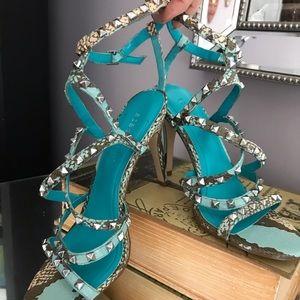 BCBGeneration Blue snakeskin heels